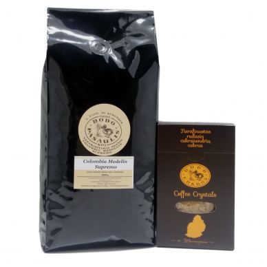 "Kava Colombia Medelin Supremo + ""Dodo cukrus"" Coffee Crystals 300g"